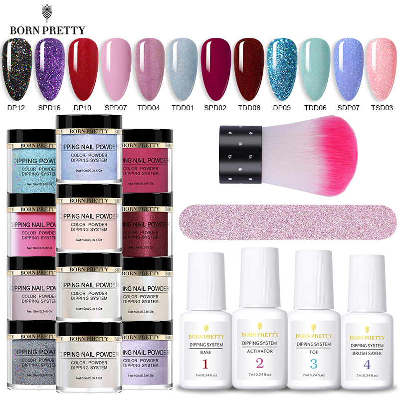 BORN PRETTY Dip Nail Powder 10ml Glittery Natural Dry Dipping Nail Powder Dust Nail Art Decoration Accessories Without Lamp Cure