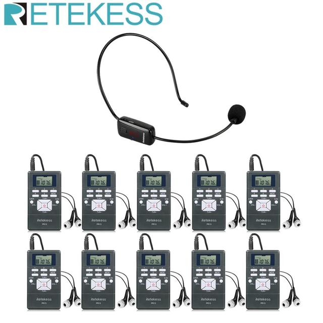 RETEKESS Wireless Audio Microphone Tour Guide System Language Interpretation System For Church Meeting Museum Tour Guiding