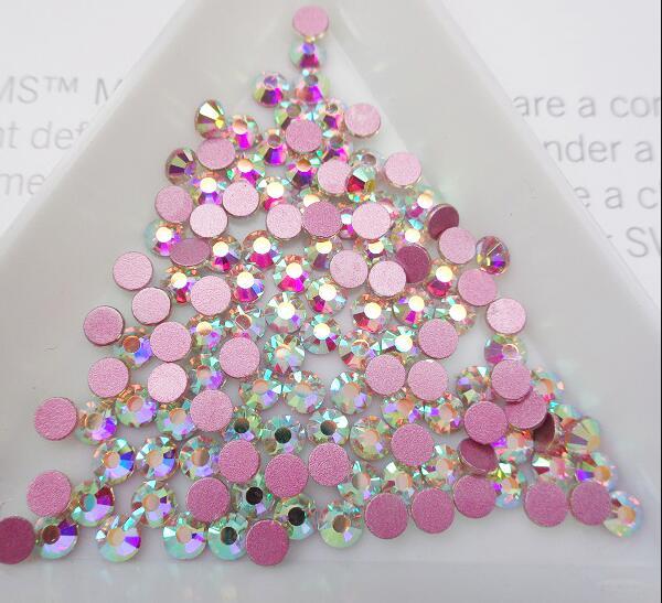 Супер Блестящий Кристалл AB Стразы SS3-SS50 не горячей фиксации FlatBack шитье стразами и ткань одежды дизайн ногтей Стразы Украшения - Цвет: Pink AB