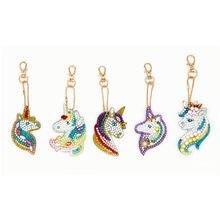 Pintura de diamante unicórnio chaveiro diamante mosaico bordado saco pingente ornamento presente aniversário brinquedos menina jóias chaveiro