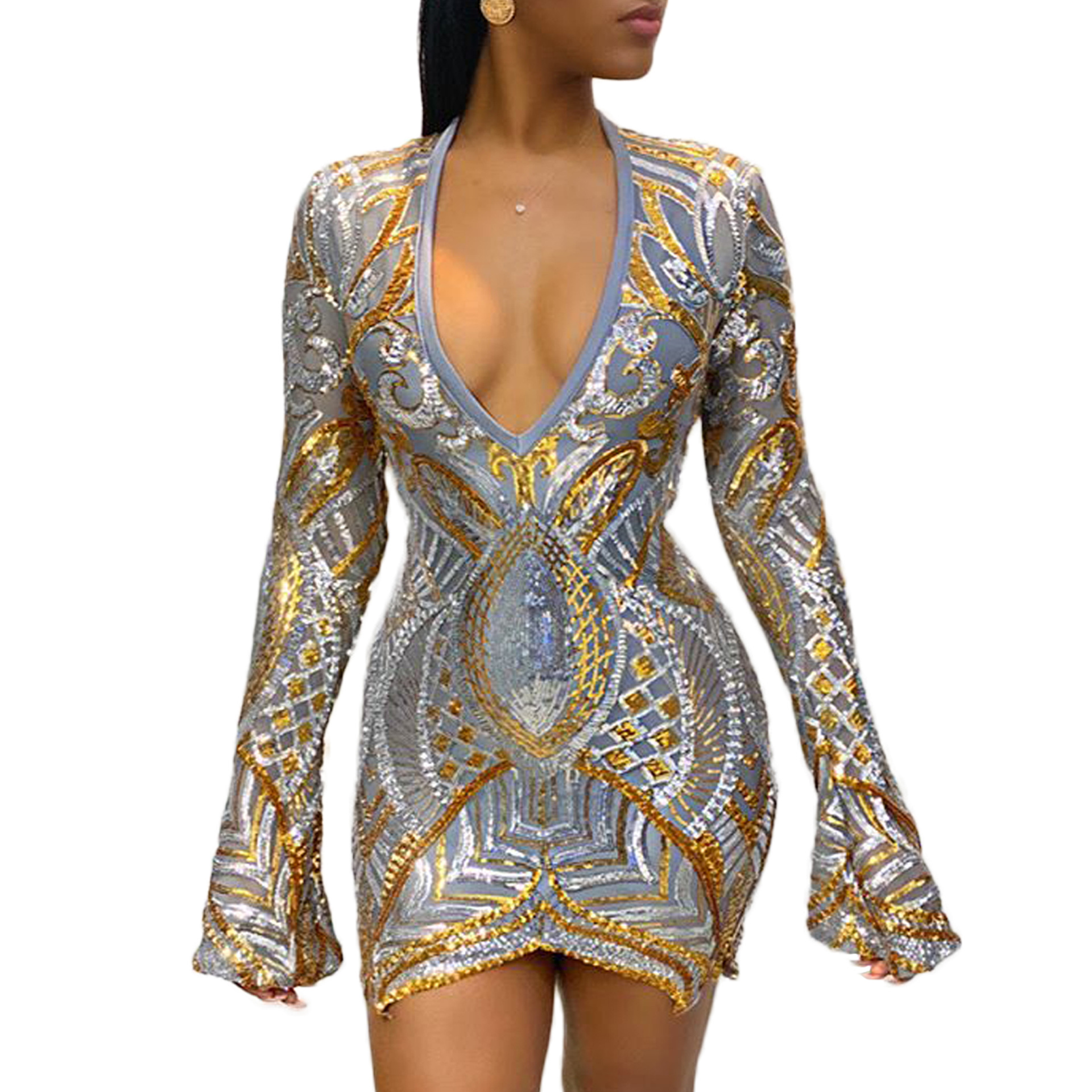 Echoine Women Sequined mini <font><b>dress</b></font> sexy long sleeve V-neck elegant bodycon <font><b>dresses</b></font> female party embroidery splice see through image