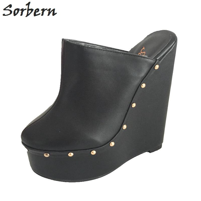 Sorbern Black Pointed Toe Wedge High Heel Slingbacks Winter Outerdoor Slipper Pump Shoes Warm Inner Short Plush Custom Exclusive