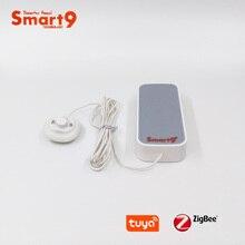 Smart9 zigbee detector de vazamento de água trabalhando com tuya zigbee hub, sensor de inundação alimentado por bateria alarme para smart life app