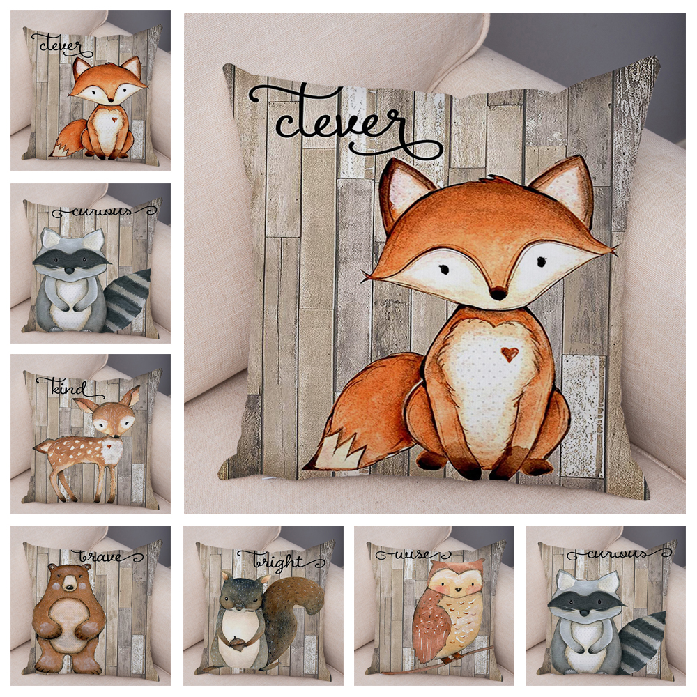 Colorful Nordic Fox Owl Pillow Case Decor Cute Cartoon Animal Cushion Cover for Sofa Pillowcase Squirrel Pillow Covers 45x45cm