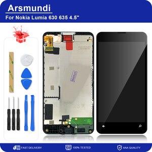 "Image 1 - لنوكيا Lumia 630 635 RM 977 RM 978 4.5 ""LCD عرض تعمل باللمس محول الأرقام الجمعية مع الإطار لمايكروسوفت 630 شاشات الكريستال السائل + هدية"