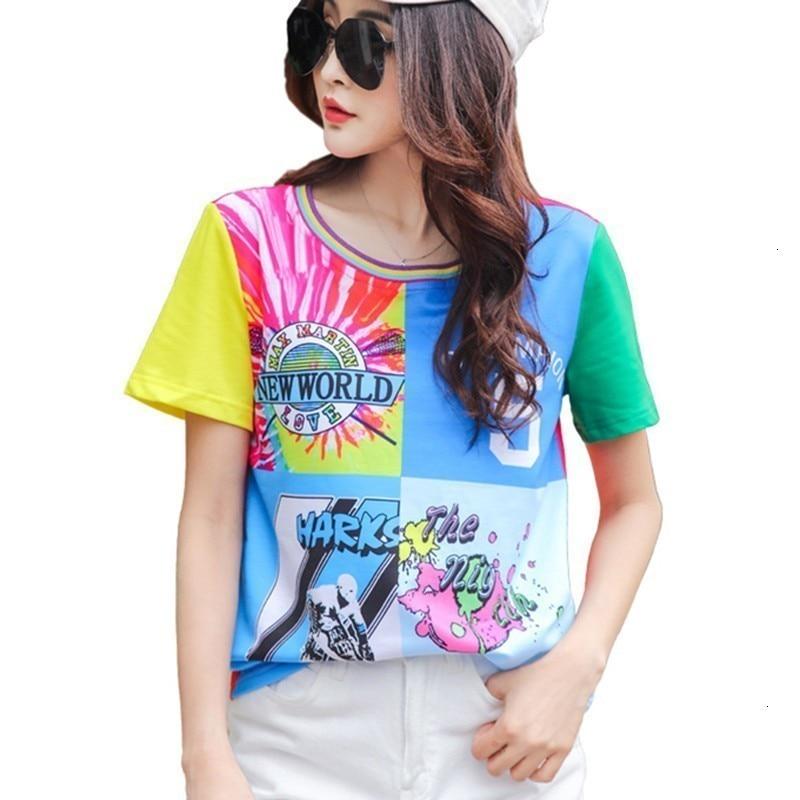 T-shirt d'été femme Streetwear mode décontracté Losse grande taille t-shirts col rond court imprimé T-petit haut vêtements pour femmes
