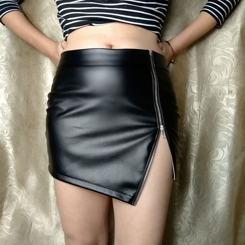 Sexy Women Two Way Zipper Open MINI Skirt PU Faux Leather Shiny Tight OL Skirt High Waist Pencil Package Hip Skirt Plus Size F58 image