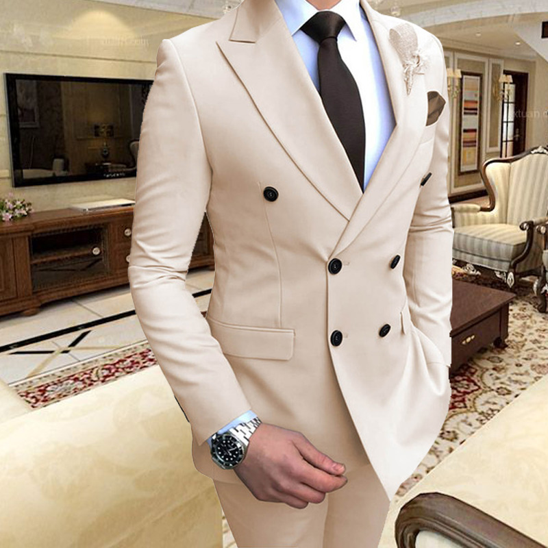ANNIEBRITNEY 2019 Beige Men's Suit 2 Piece Slim Fit Formal Groom Tuxedos Wedding Suits For Men Evening Party Dress Male Blazer