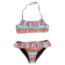 2020 Girl Swimsuit Africa Style Two Pieces Children's Swimwear Swim Suits Teen Split Boho Flora Print Bikini Sets Bathing Suit(China)
