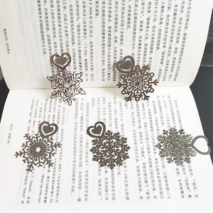 Image 5 - Metal Flower Bookmarks Stainless Steel Snowflake Book Page Marker as Christmas Gifts 30pcs/lot