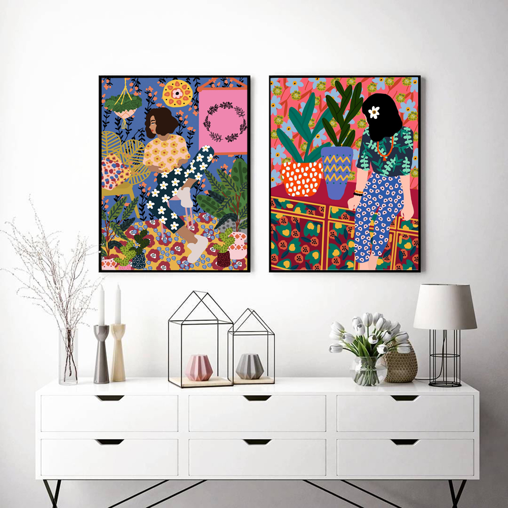 Abstract Fashion Vintage Girl Plant Dog Wall Art Canvas Painting Nordic Posters And Prints Wall Pictures For Living Room Decor|Painting & Calligraphy| - AliExpress
