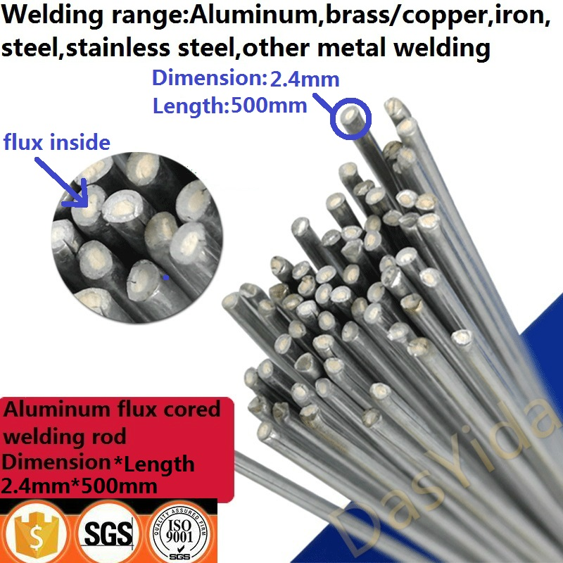 2.4mm*500mm Low Temperature Flux Cored Inside Aluminum Welding Wire No Need Aluminum Powder Instead Of WE53 Welding Rod