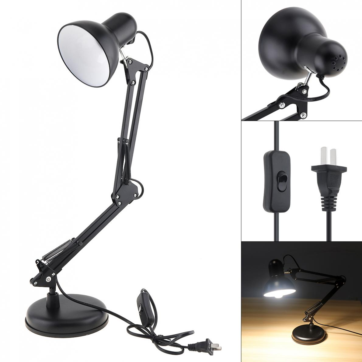 Black Flexible Swing Arm Clamp Mount Desk Lamp with Base and Key Switch Support E27 Bulb for Office / Home HOT sale Desk Lamps     - title=