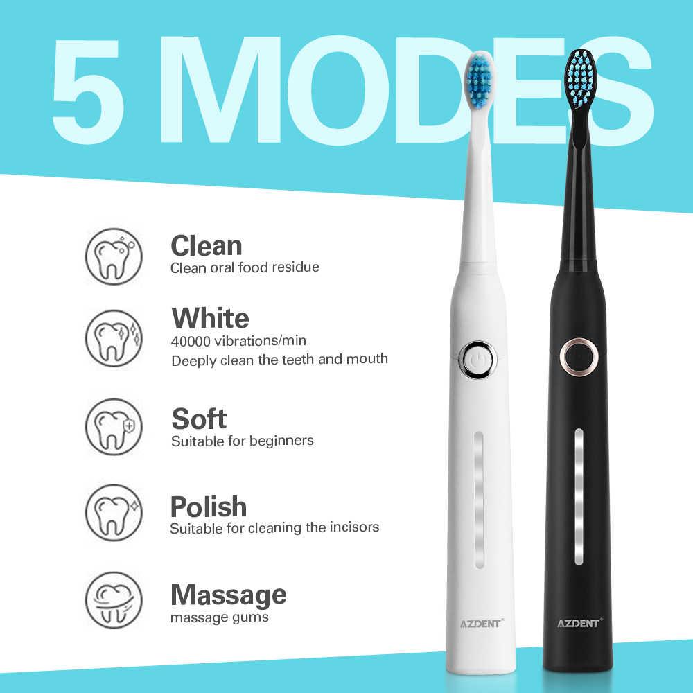 Azdent moda 5 modos sonic escova de dentes elétrica recarregável usb ultra sônico à prova dwaterproof água para adultos clareamento dos dentes