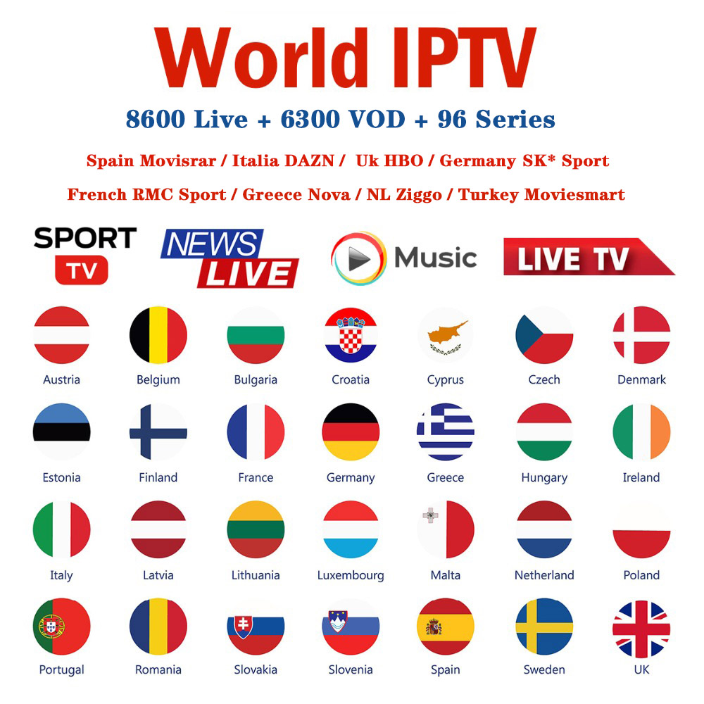 World IPTV M3u Subscription Europe French Greece Spain Italy DAZN Movistatr Portugal For Smart Android  TV Box HD HEVC VLC IPTV