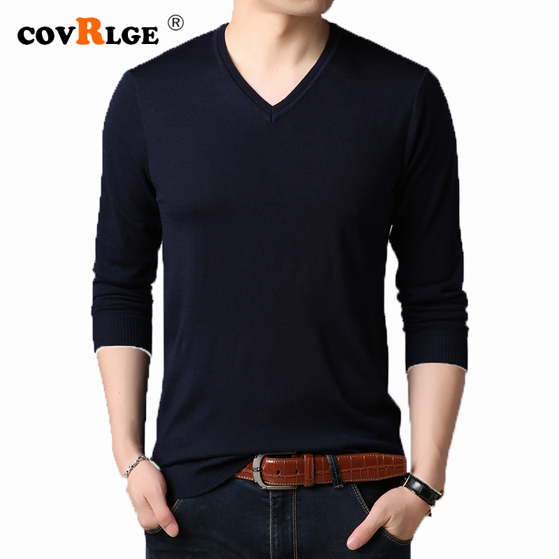 Covrlge Men's Sweater 2019 Autumn New V-neck Black Solid Color Casual Sweater Mens Computer Knitted Pullover Shirt Male MZL048