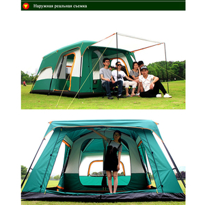 Image 3 - camping tent Two story outdoor 2 living rooms and 1 hall high quality family camping tent large space tent 8/10 Outdoor camping