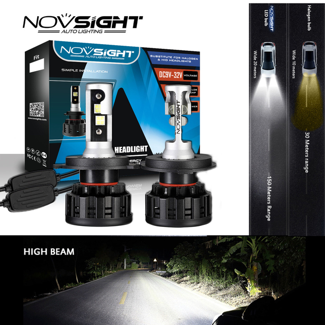 NOVSIGHT 6500K H4 LED H7 H11 H8 HB4 H1 H3 HB3 9005 9006 9007 H13 Auto Car Headlight Bulbs 60W 18000LM Super Bright Car Light