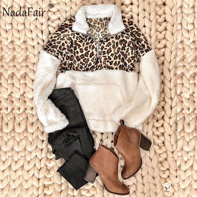 Nadafair Fluffy Oversized Hoodie Leopard Patchwork Zip Fleece Casual Plus Size Sweatshirt Women Pullover Overcoat Hoody Ladies 4