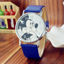 Blue Disney Lovely Mickey mouse Children's Watches Girls Boys Gift Crystal Dress