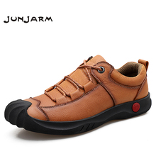 JUNJARM Handmade Genuine Leather Men Casual Shoes Brand Mens Works Safety Moccasins Breathable Black Sneakers