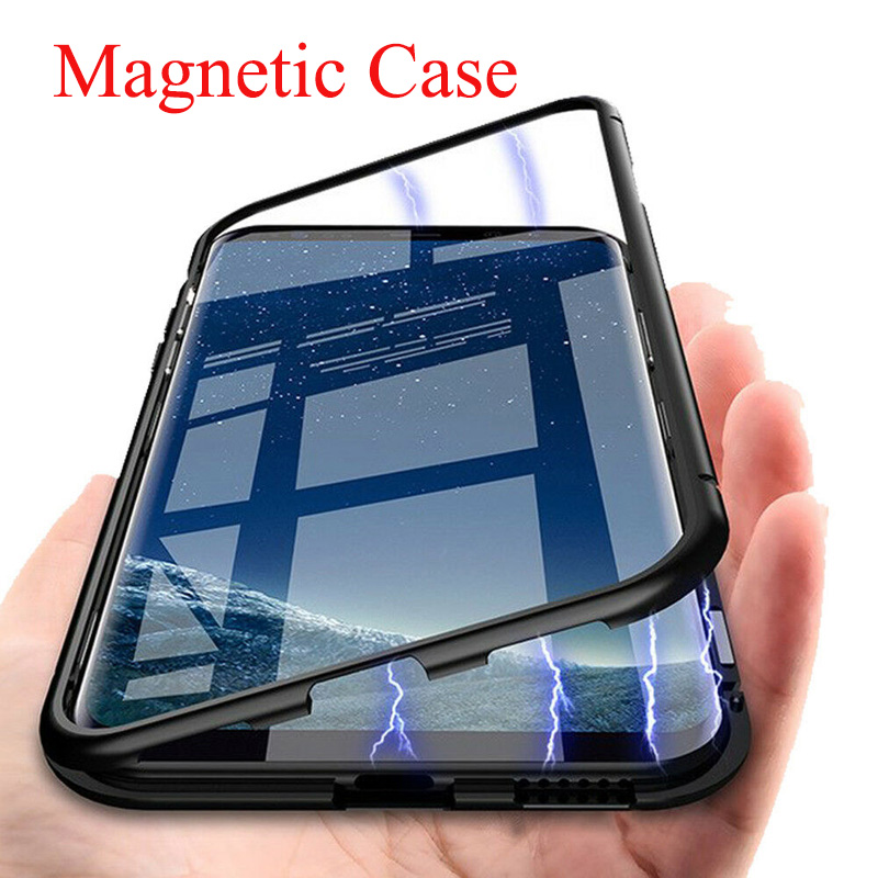 Magnetic Metal Case For Samsung Galaxy A51 A71 A50 A70 A30 A40 A60 A10 A30S A7 2018 Phone Adsorption Back Case Cover
