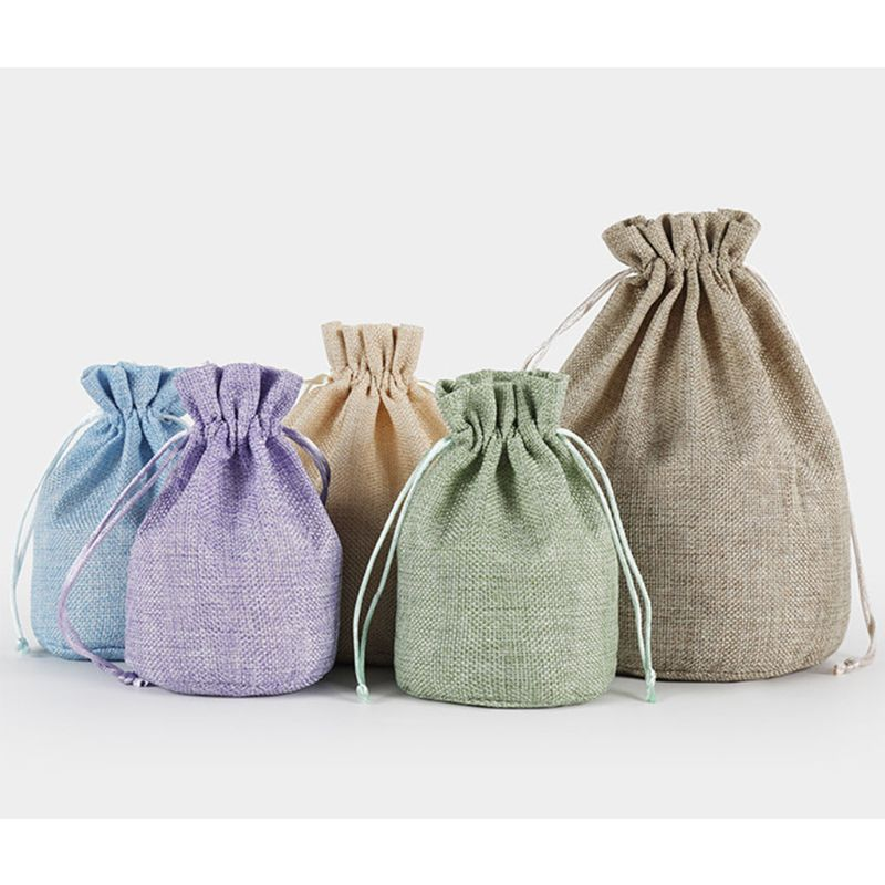 Adult Kids Portable Linen Drawstring Bag Solid Color Travel Laundry Wash Bag Toy Shoe Clothes Packing Storage Organizer Purse
