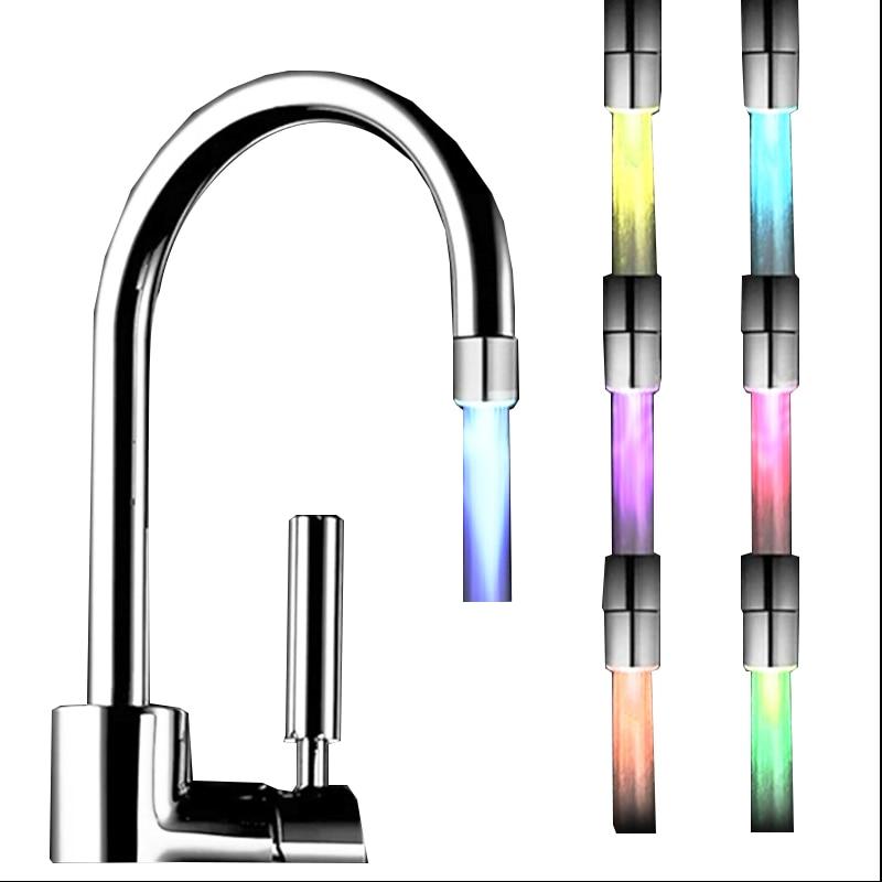 Kitchen Faucet Aerator Shower Diffuser Nozzle Water Saver LED Light Color Bubbler Extender Kitchen Faucet Head Retail Wholesale