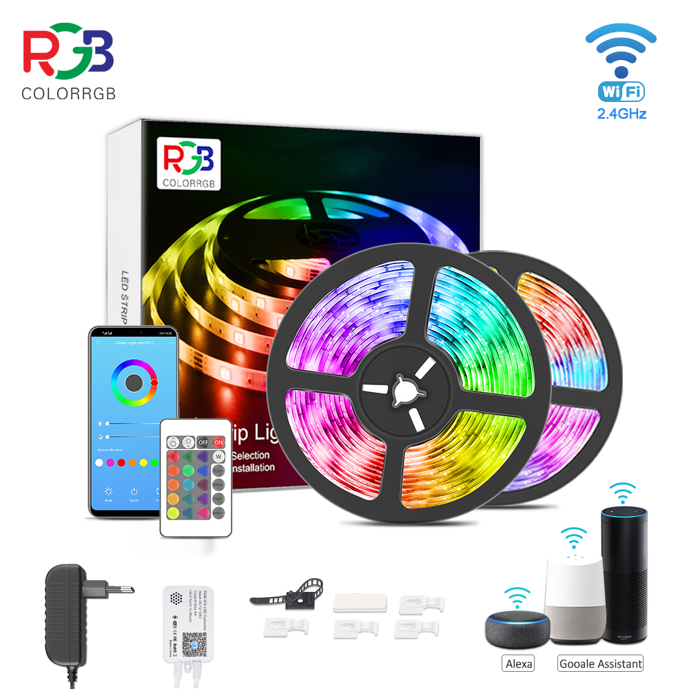 ColorRGB Smart WiFi LED Strip Lights Works with Alexa Google Home Brighter 5050 LED light strip DC12V Phone App 12M