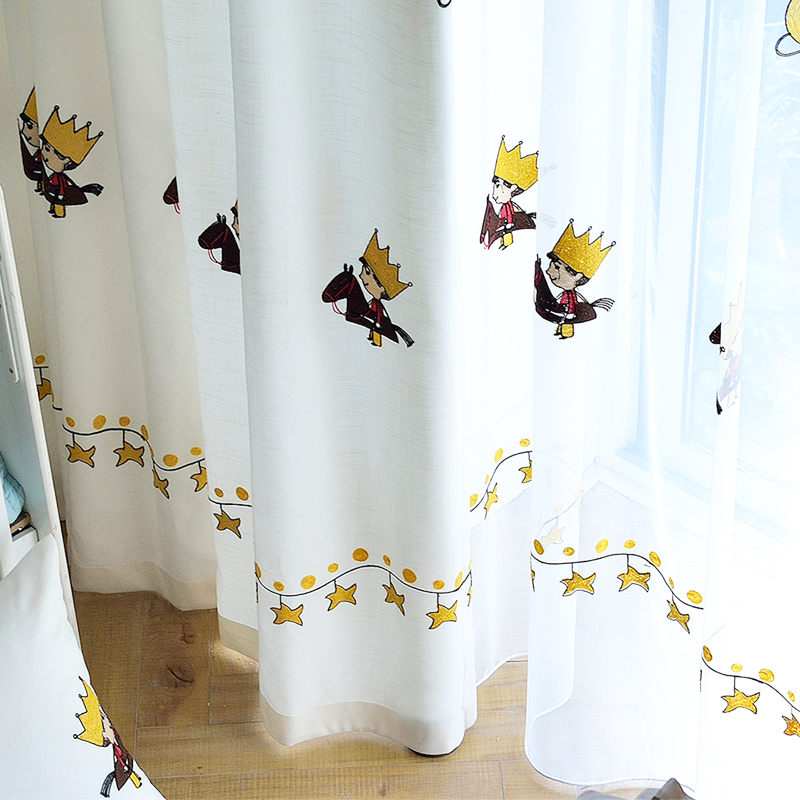 Cartoon Children's Room Curtain for Bedroom Cute Little Prince Pattern Shading Nordic Boy Girl Cartoon Anime Curtains image