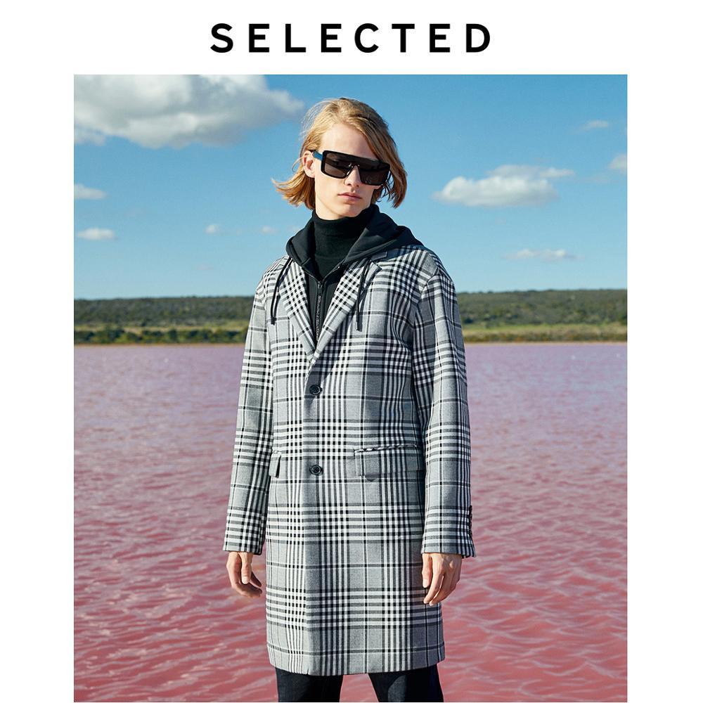 SELECTED Men Detachable Fake Two-piece Design Wool Coat Plaid Trench Coat Autumn & Winter Windbreaker Jacket LAB | 419427546