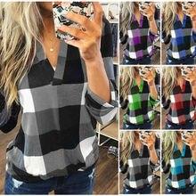 Новая женская клетчатая рубашка с v-образным вырезом, топы с длинным рукавом, Женская Повседневная Свободная блузка размера плюс S-3XL