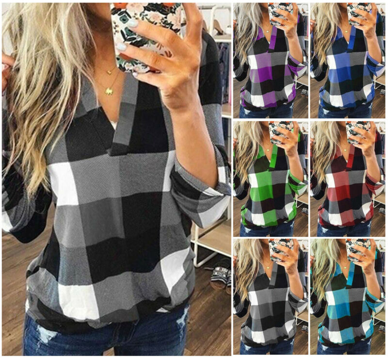 New Women V-Neck Check Lattice Plaid Shirt Tops Long Sleeve Lady Casual Loose Blouse Plus Size S-3XL