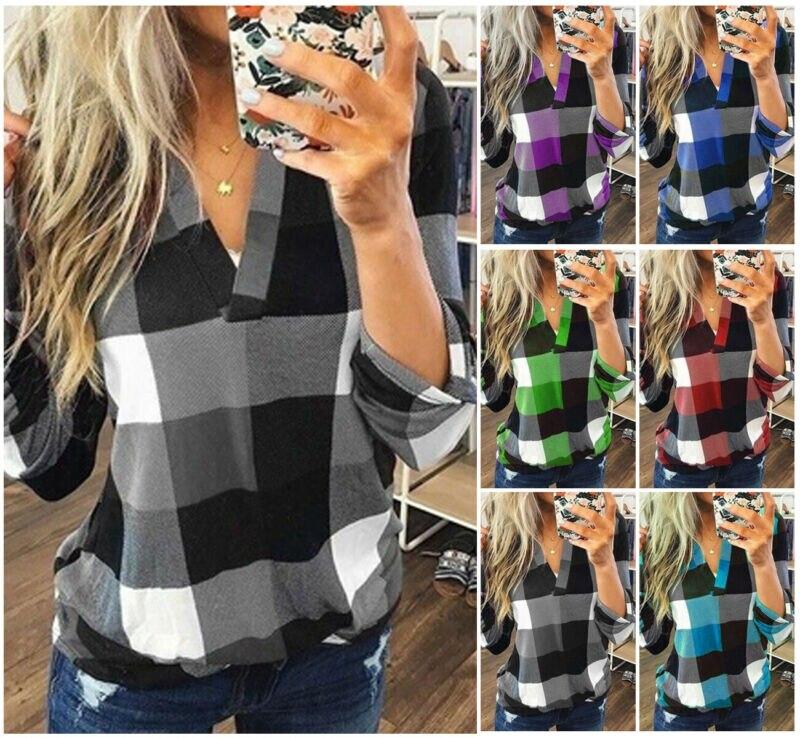New Women V-Neck Check Lattice Plaid Shirt Tops Long Sleeve Lady Casual Loose Blouse Plus Size S-3XL