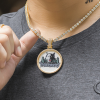 Iced Out Personalized Memorial Round Picture Pendant Necklace Dad Jewelry