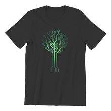 T-shirts rétro circuit vert imprimé électronique, à la mode, 80350