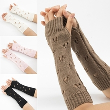 Knitted Hand Gloves Stretchy Long Fingerless Sleeves Arm Warmer Sleeve Hollow Heart Arm Sleeves Arm Crochet Sleeves