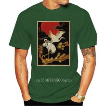 Japanese Hokusai Cherry Crane Black, Navy T-Shirt S-3Xl Breathable Tee Shirt