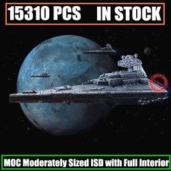Nieuwe 15310Pcs MOC-9018 Imperial Star Destroyer Matig Sized Isd Volledige Interieur Fit Star Wars Bouwsteen Baksteen Speelgoed