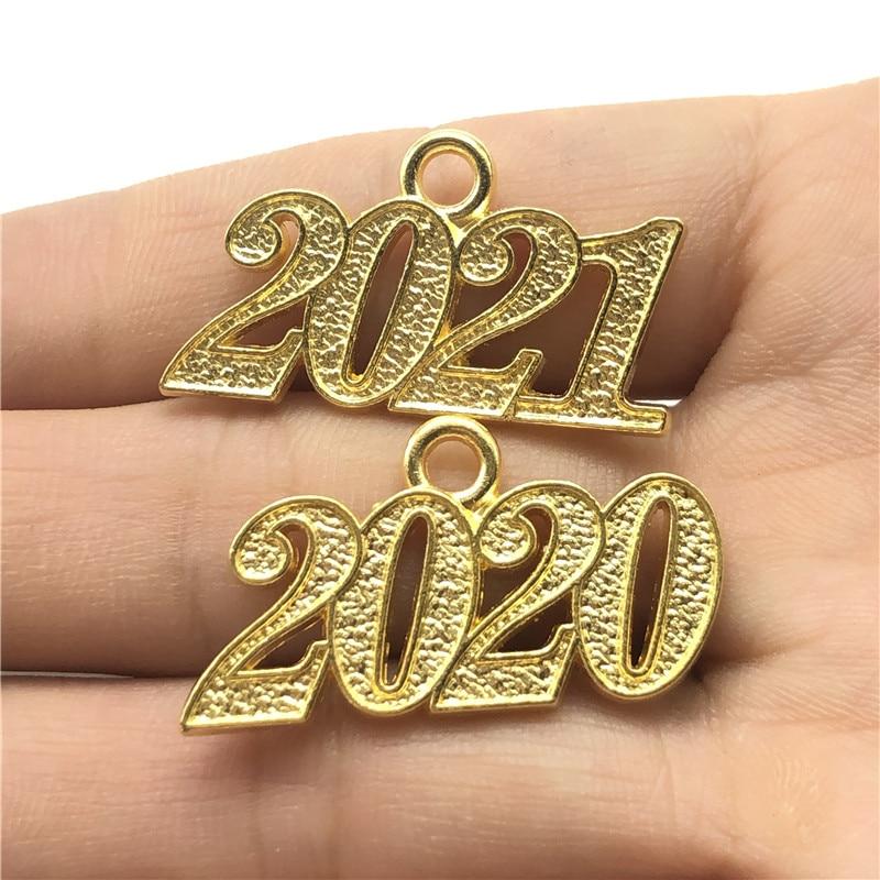 Металлическая подвеска «сделай сам» для изготовления ювелирных изделий, очаровательное золото 2020, 2021 с цифровым годом, материал для браслетов, ожерелий ручной работы, аксессуары, 10 шт.