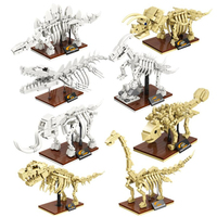 Museu Jurassic Park Dinossauro tiranossauro Velociraptor Dilophosauridae triceratop Skelet Blocos Tijolos crianças presente