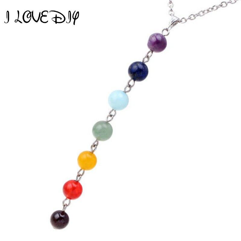 7 Chakra Gem Stone Beads Pendant Necklace Women Yoga Reiki Healing Balancing Maxi Chakra Necklaces Bijoux Femme Jewelry 2020 New