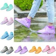 лучшая цена 1Pair Reusable Rain Shoe Covers Waterproof Rubber Anti Slip Rain Boot Overshoes Raincoat Shoes Cover Elastic Outdoor Tools