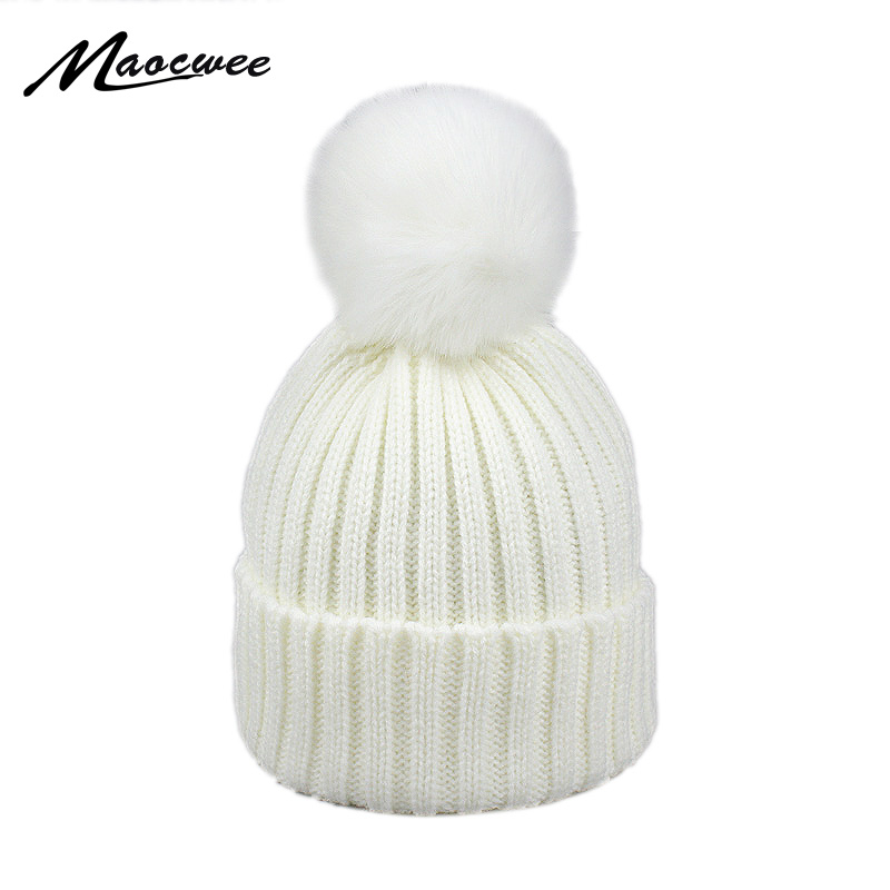 Faux Fur Pompom Hat Winter kid Hats   Skullies     Beanies   Child Warm Caps Elasticity Knit   Beanie   Hats Children Pom Pom Hats Girls Boy