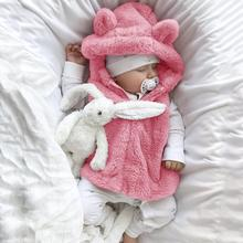 Одежда для маленьких мальчиков и девочек, жилет, теплый зимний жилет для младенцев, пальто без рукавов, флисовая верхняя одежда с капюшоном, жилет, новинка года