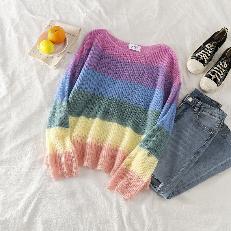 Mooirue Korean Style Sweater Women Harajuku Rainbow Stripes O Neck Streetwear Casual Vintage Pullovers Loose Women Kintting Top
