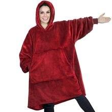 Winter Oversized Hoodie Sweatshirt Women Blanket with Sleeves Giant TV Blanket Sherpa Fleece Hoodies Bathrobe Casaco Feminino