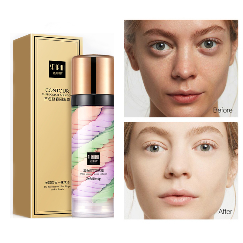 Three-color Mixed Isolation Lotion Fill Pores Brightening Skin Foundation Primer Base Makeup Concealer Liquid RECOMMEN