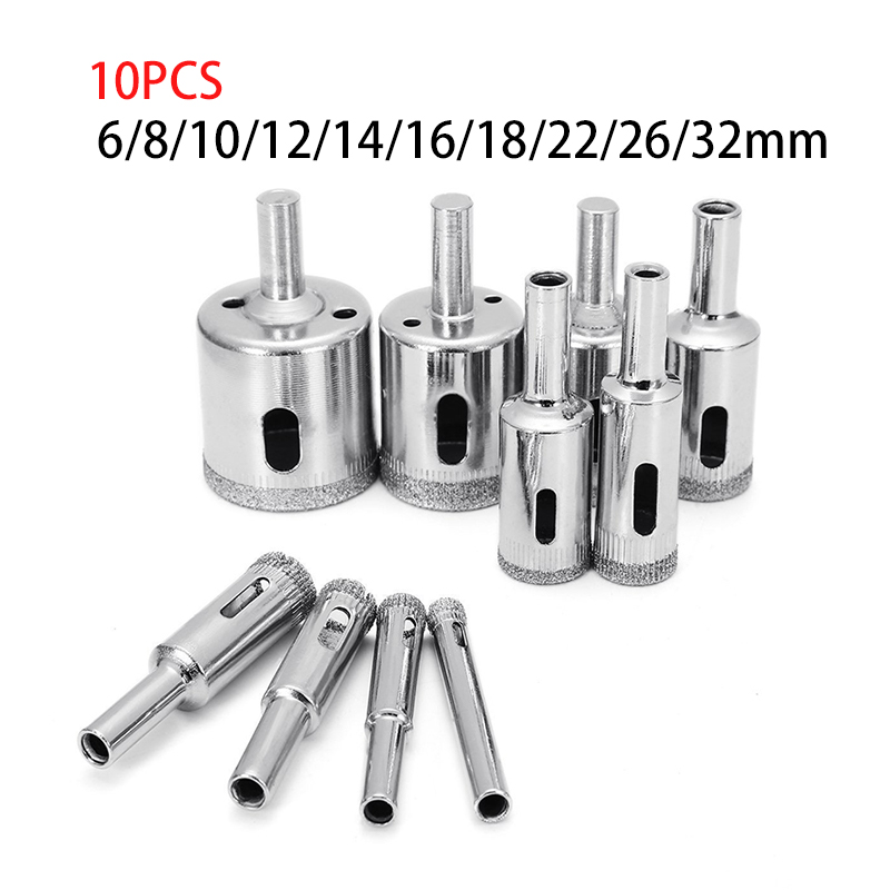 10 Pcs 6-32mm Diamond Drill Bit Set Use for Glass Tile Marble Granite Core Hole Saw Drill Bits Electric drilling tool 8