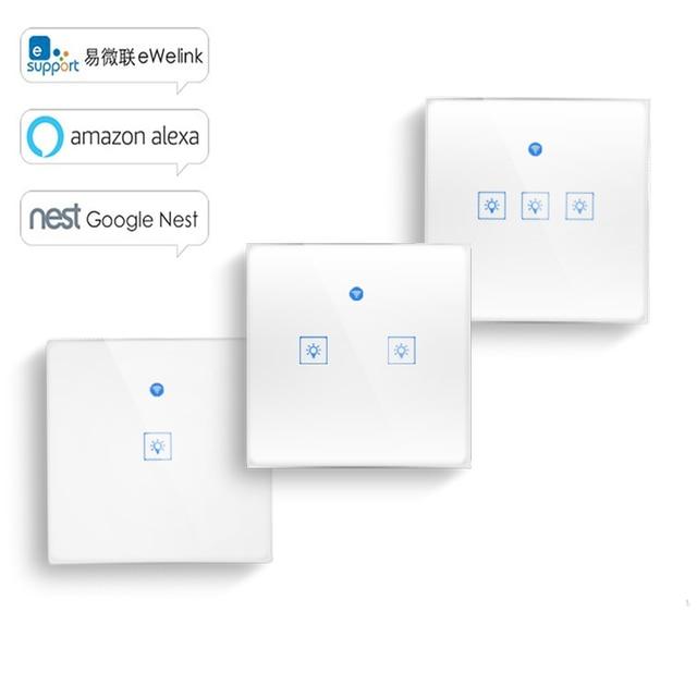 WS WiFi APP/מגע בקרת אור קיר מתג 1/2/3 כנופיית לוח קיר מגע אור מתג חכם google בית עם Alexa